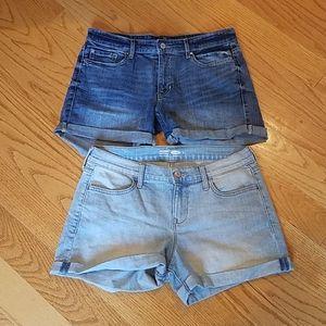 Gap & Old Navy Jean shorts rolled cuff 6 EUC denim